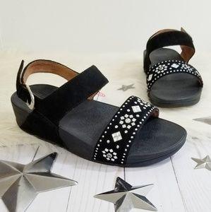 Fitflop Lulu Aztek ankle strap sandals black studs